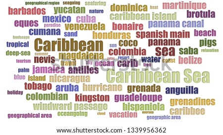 Caribbean Sea Tagcloud In Rows On White Background