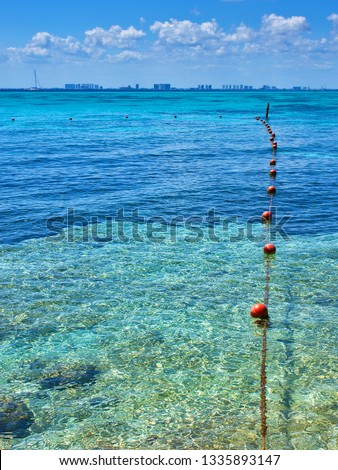 Caribbean Sea, transparent waters, great for diving, for swimming. Protection for bathers. limit allowed. boundary buoys #1335893147