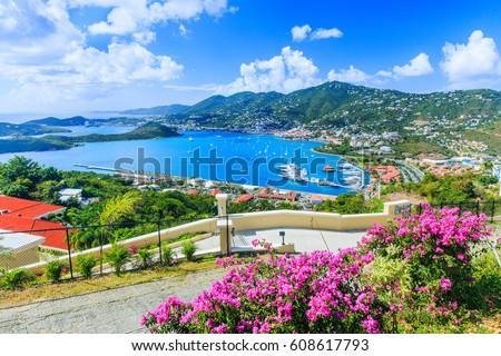 Caribbean, St Thomas US Virgin Islands. Panoramic view.