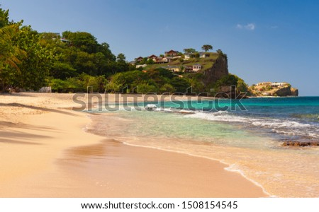 Caribbean. The Island Of Grenada. Grenada is a country and an island located in the southern part of the Antilles, Beautiful View Of Grand Anse In Grenada Foto stock ©