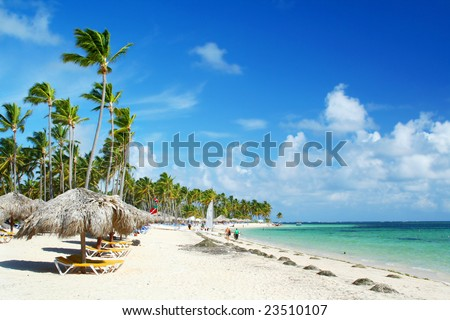 Caribbean tourist resort beach fringed grass umbrellas and beach chairs.
