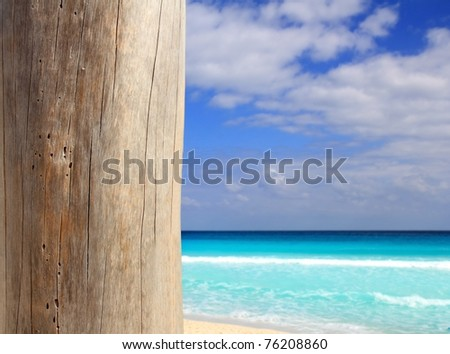 Caribbean tropical beach wood weathered pole on sea foreground