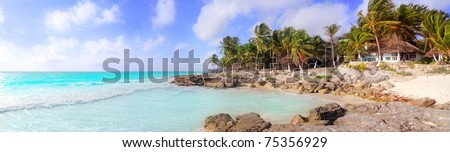 Caribbean Tulum Mexico tropical panoramic beach sunny day [Photo Illustration]