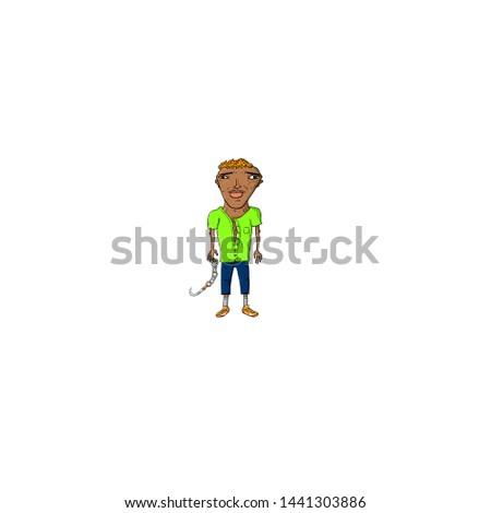 caricature fighter man green tshirt