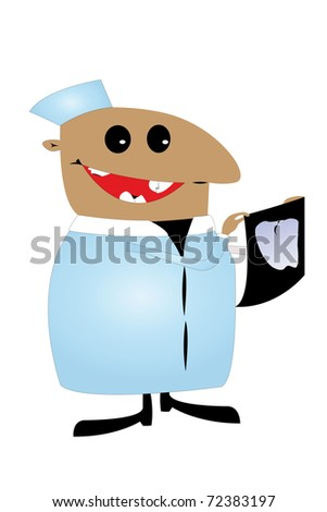 caricature of dental, who scrutinizes X-ray image. He has bad teeth in his own mouth.