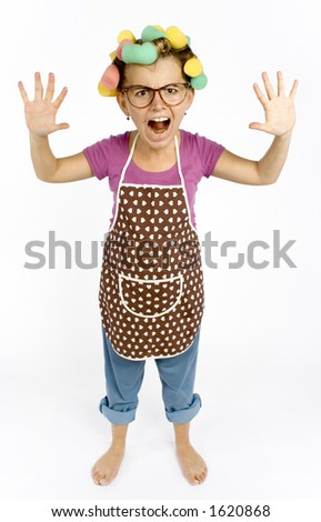 caricature of housewife - hands up Zdjęcia stock ©