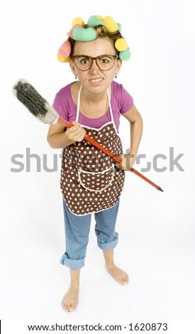 caricature of housewife - threaten by broom Zdjęcia stock ©