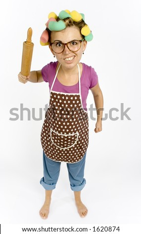 caricature of housewife - threaten by rolling-pin Zdjęcia stock ©