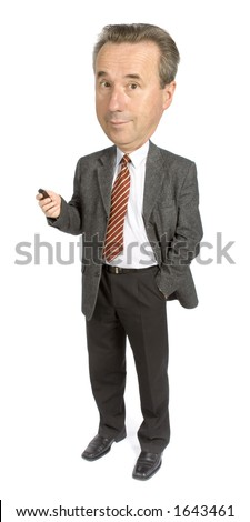 caricature of senior businessman with cell phone