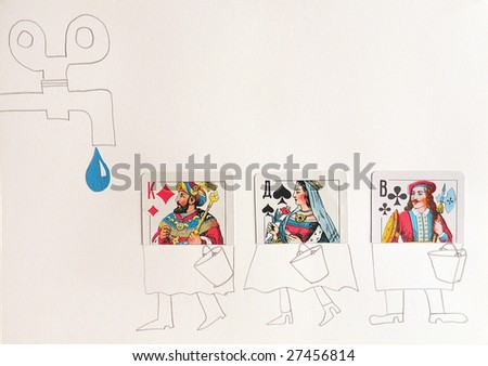 Caricature representing people in the form of playing cards standing in a queue water. - stock photo