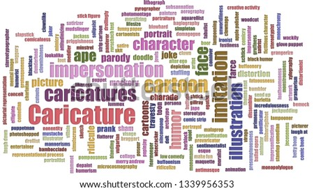 Caricature Tag Cloud Mixed On White Background