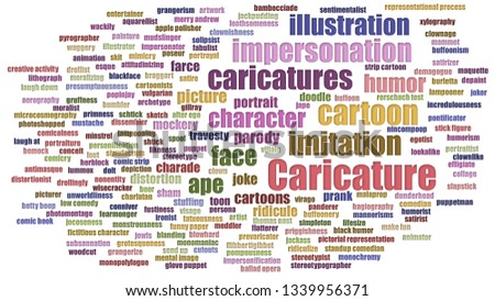Caricature Wordcloud In Rows Isolated