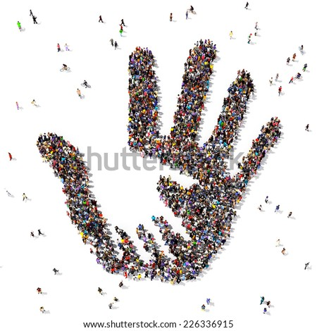 Caring hand symbol formed out of people seen from above, on white background