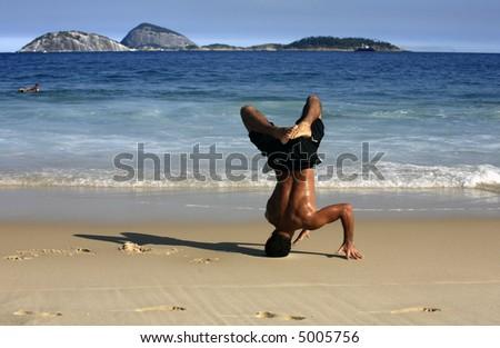 Ipanema Beach Brazil. capoeira on ipanema beach