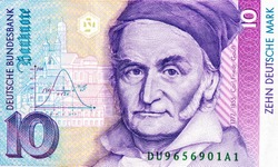 Carl Friedrich Gauss (1777 - 1855), a German mathematician. Gaussian or Normal distribution. Historic buildings of Gottingen. Portrait from German 10 Mark Banknotes. Closeup Collection.