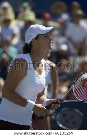 CARLSBAD, CA - AUGUST 07: Lindsay Davenport participates in a doubles exhibition at the Mercury Insurance Open at La Costa Resort and Spa on August 7, 2010 in Carlsbad, CA.