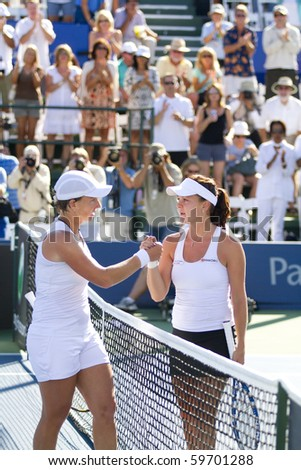 CARLSBAD, CA - AUGUST 08: Svetlana Kuznetsova (L) defeats Agnieszka Radwanska (R) in the Mercury Insurance Open singles final at La Costa Resort and Spa in Carlsbad, CA, on August 8, 2010.