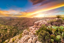 Carlsbad Cavern National Park, New Mexico, USA overlooking Rattlesnake Canyon just after sunset.