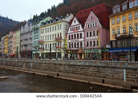 CARLSBAD, CZECHIA - NOVEMBER 23:  View of Carlsbad on November 23, 2011 in Carlsbad, Czechia. Town is historically famous for its hot springs (13 main springs, about many smaller springs)