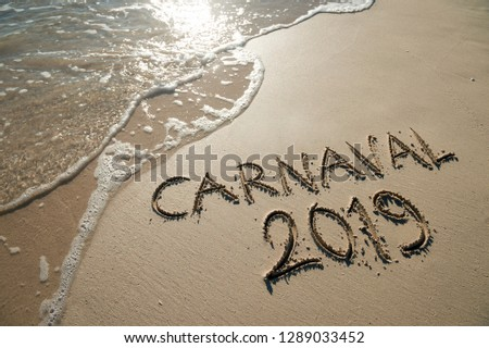 Carnaval 2019 message, spelled the Portuguese way, handwritten on smooth sand beach with wave in Rio de Janeiro, Brazil #1289033452