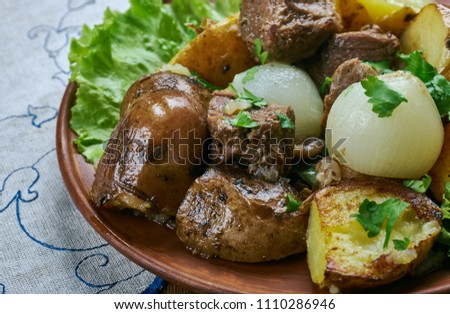 Carne de vinha d'alhos -  Portuguese dish,  from the Portuguese islands of Madeira and the Azores, Garlic Wine Marinated Pork #1110286946