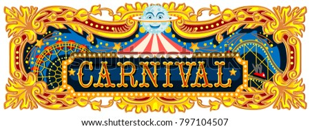 Carnival banner circus template. Circus vintage theme for kids birthday party invitation or post. Quality illustration.