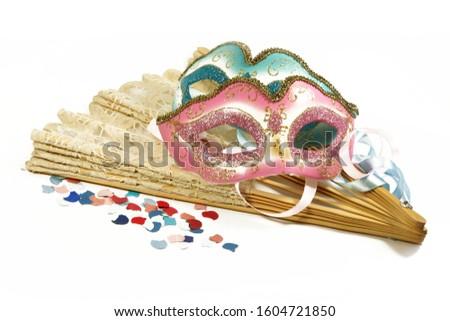 Carnival, carnival masks, confetti, copy space, on white
