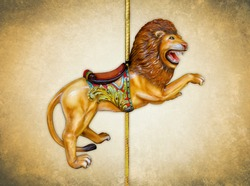 Carnival carousel lion isolated on gold background