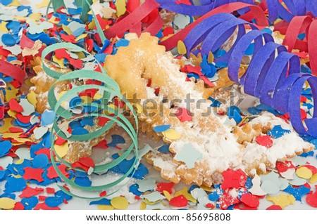 Carnival, celebration,party cake and mask - stock photo