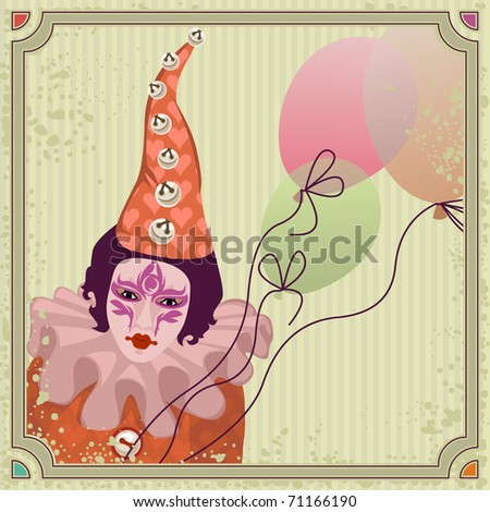 carnival clown with balloons - for vector version see image no. 70517881