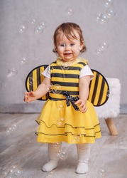 Carnival halloween Bee Maja sweet little child with bubbles