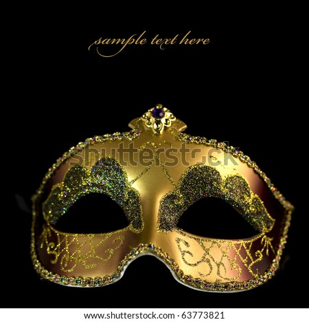 Carnival mask on a black background (with sample text)