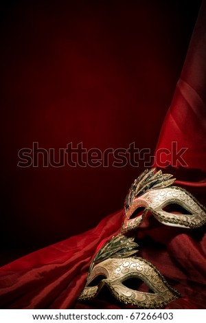 Carnival Mask on red dark background