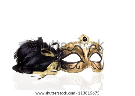 Carnival mask on white with reflection - stock photo
