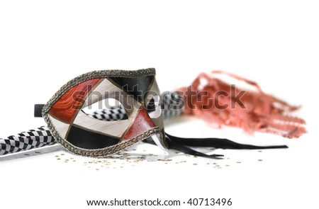 carnival mask with horn - stock photo
