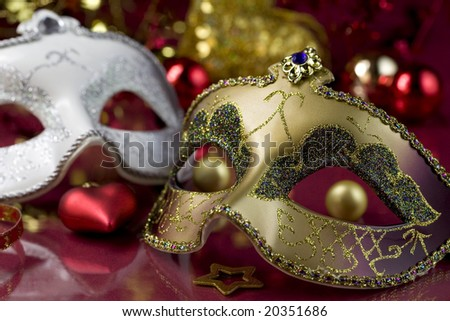 Carnival masks and christmas decoration. Christmas concept