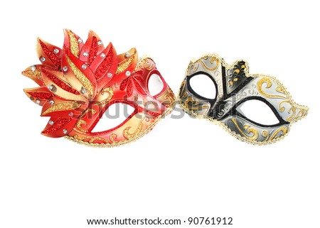 Carnival masks isolated on white background. - stock photo
