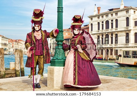 Carnival of Venice, beautiful masks at St. Mark\'s Square
