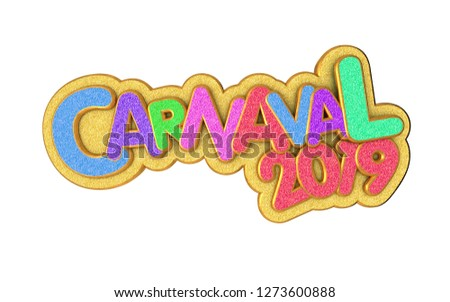 Carnival or carnaval gold colorful glitter texture font. 2019 Rio de Janeiro holiday card design template. Isolated #1273600888