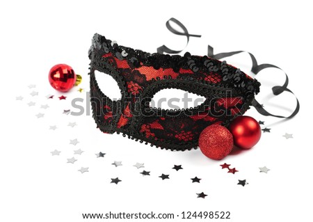 carnival red mask with silver confetti on white background