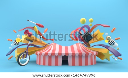 Carnival tents surrounded by carnival object on a blue background.-3d rendering.