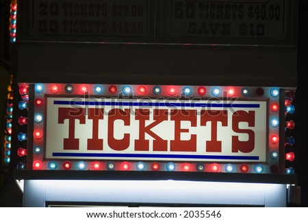 Carnival ticket stand booth sign - stock photo