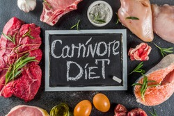 Carnivore diet background. Non vegan protein sources, Different meat food - chicken breast, pork steak, beef tenderloin, eggs, spices for cooking. Black stone concrete background copy space
