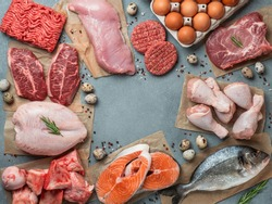 Carnivore diet concept. Raw ingredients for zero carb diet - meat, poultry, fish, seafood, eggs, beef bones for bone broth and copy space in center on gray stone background. Top view or flat lay.