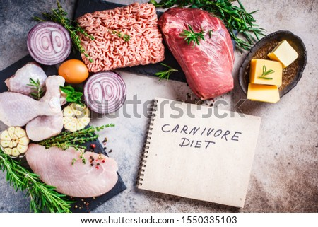 Carnivore diet concept. Raw meat of chicken, beef, butter, cheese, eggs, minced meat and turkey on a dark background, top view, flat lay. Stock fotó ©
