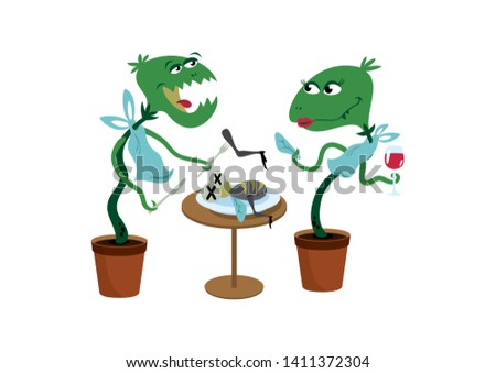 Carnivorous Plant cartoon character. Funny Carnivorous Plants illustration. Couple of Carnivorous Plants illustration. Carnivorous Plant isolated on a white background