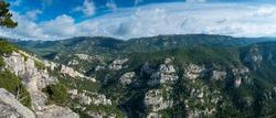 Caro Mountain Range from Cati Mountain Range, in The Ports Natural Park of Terres de l'Ebre region of Tarragona province of Catalunya Autonomous Community of Spain, Europe