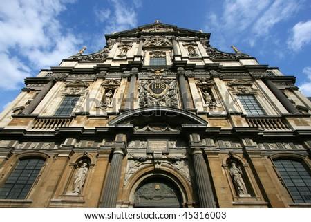 Carolus Borromeus Church in Antwerp, Belgium. Parts of the facade designed by famous Pieter Paul Rubens.
