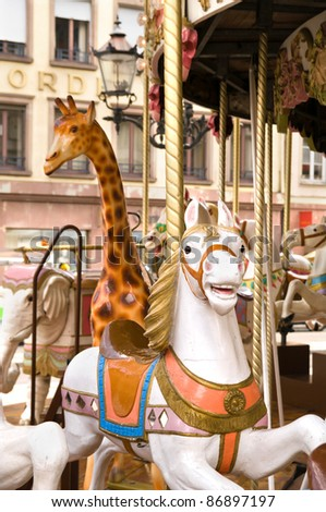 Carousel animals of a historic carousel in strasbourg