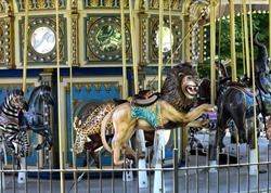 carousel animals ready for riders
